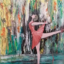 Ballet Today by Rhonda Lee - Painting All Painting ( oil, ballerina, rokinronda, paint )