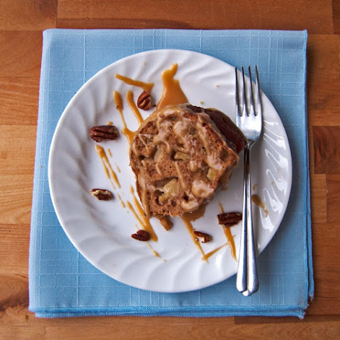 Skinny Apple Spice Cake with Caramel Sauce