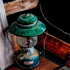 Coleman Lantern by Christy Stanford - Artistic Objects Antiques ( lantern, old, lighting, bench, light )
