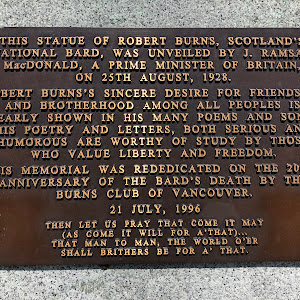 This statue of Robert Burns, Scotland's national bard, was unveiled by J. Ramsay MacDonald, a prime minister of Britain, on 25th August, 1928. Robert Burns's sincere desire for friendship and ...