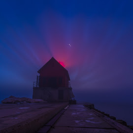 Fog and Afterglow by David Behrens - Landscapes Weather ( afterglow, michigan, grand haven, lake michigan, fog, dark, lighthouse, long exposure, glow )