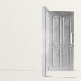 The Grey Door by Ibnu Majid AN - Digital Art Things ( open, editorial, simplicity, wood, black and white, illustration, door, grey, no one, standing, design )
