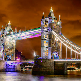 Tower Bridge by Abdul Rehman - Buildings & Architecture Bridges & Suspended Structures ( lights, nigt life, uk, night photography, london, night scene, tower bridge, long exposure, night, bridge, great britainpiccadilly circus, light, night shot, nightscapes )