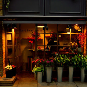 London Flower shop by Mike Tricker - City,  Street & Park  Street Scenes ( breast cancer awareness, pink, lighting, lights, mood factory, hot pink, mood, scents, color, mood-lites, sassy, brighten our world,  )