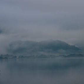 Lone Boat by Seamus Crowley - Landscapes Waterscapes ( epic, uk, reflection, red, fog, lake, keswick, boat, dusk )