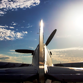 Condition: Grounded by Patrick Barron - Transportation Airplanes ( sky, static, warbird, silhouette, airplane, sunrise, airshow )