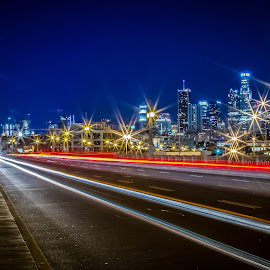 Lighting LA by Alvin Simpson - City,  Street & Park  Street Scenes ( light trail, light painting, street, la, night, cityscape, light, city,  )