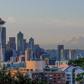 Seattle Sunrise by Fitz C - City,  Street & Park  Skylines ( washington, landmark, skyline, seattle, mount rainier, kerry park, cityscape, sunrise, wa, downtown )