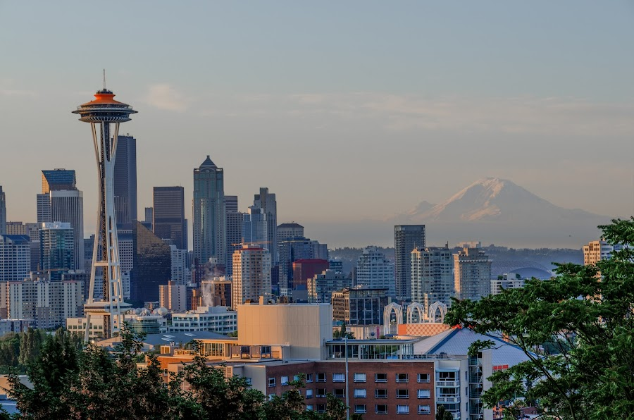 Seattle Sunrise by Fitz C - City,  Street & Park  Skylines ( washington, landmark, skyline, seattle, mount rainier, kerry park, cityscape, sunrise, wa, downtown )