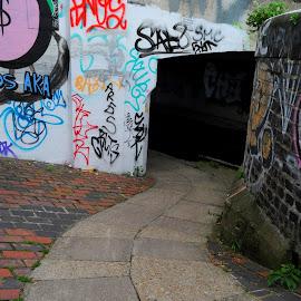 Towpath under Wick Lane by DJ Cockburn - City,  Street & Park  Street Scenes ( hackney, hackney wick, towpath, hertford union canal, canal, england, london, graffiti, stratford, wick lane, bridge, tunnel, waterway, pavement, sidewalk )