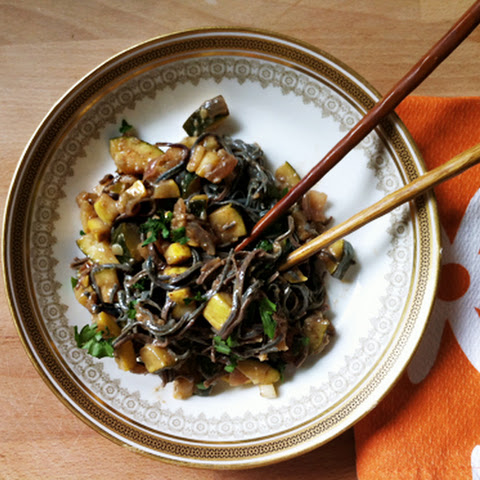 Black Bean Noodle Pad Thai with Yellow Squash and Zucchini