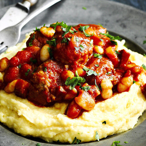 Tomato Braised Meatballs with White Beans