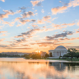 Washington DC Sunrise by Benjamin Tucker - Landscapes Sunsets & Sunrises ( tamron 15-30 f2.8, hdr, jefferson memorial, nikon d810, washington dc, sunrise, tidal basin )