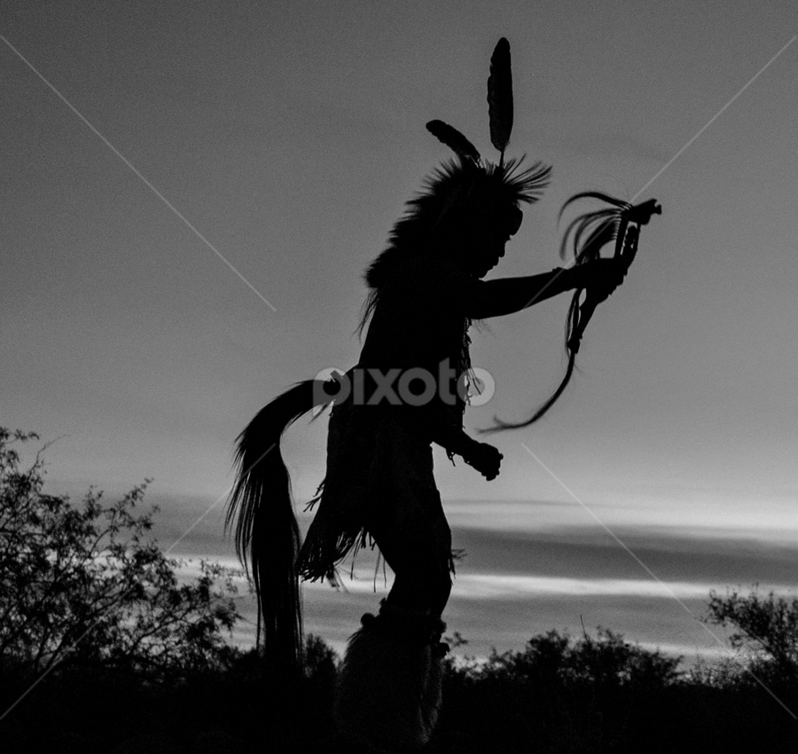 Dancer in the Desert by Del Candler - People Musicians & Entertainers ( desert, black and white, silhouette, the southwest, dancer,  )