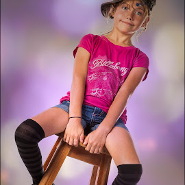 by Adrian Chinery - Babies & Children Child Portraits ( child, chair, girl, happy, socks, fun, cute )