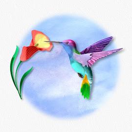 Circular Hummer by Charlie Alolkoy - Illustration Animals ( bird, watercolor, sky, fly, hummingbird, flower )