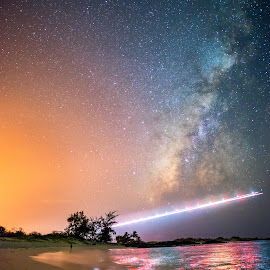 Galactic Flight by Ulderico Granger - Landscapes Starscapes ( art, ocean, beach, scenic, travel, paradise, landscape, astronomy, milky way, big island, adventure, sky, nature, color, stars, peace, astrophotography, night, hawaii, galaxy )