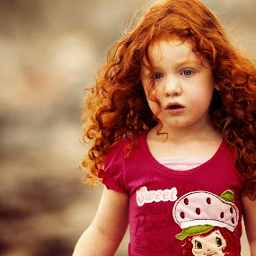 Redhead bokeh by Joseph Humphries - Babies & Children Children Candids ( blueeyes, maine, innocent, beautiful, candid, beach, strolling, bokeh, lightskin, child, curly, sweet, strawberryshortcake, redhead, pinkshirt, prouddad )
