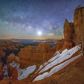 Bryce Canyon on a Winter Night by Nick Johnson - Landscapes Starscapes ( winter, utah, night, bryce canyon, nightscape, milky way )