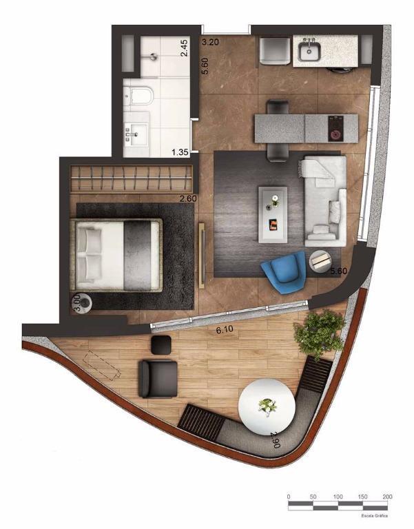 Apto 46 m² Layout 1