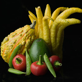 Buddha Hand With Vegetables by Jim Downey - Food & Drink Fruits & Vegetables ( cherry peppers, avocado, squash, black, peas, lemon )