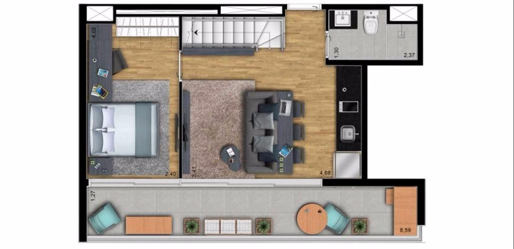 Planta Cobertura Duplex Inferior 152 m²