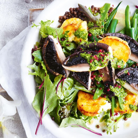 Roasted Mushroom And Haloumi Salad With Crispy Lentils