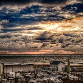 beach cabins at sunset in ,Belgium  by Egon Zitter - Buildings & Architecture Other Exteriors ( clouds, cabin, sky, dressingroom, sunset, dramatic, horizon, belgium, beach )