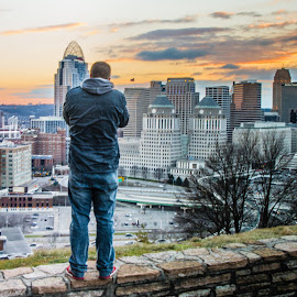 Cincinnati at Sunset by Richard Michael Lingo - City,  Street & Park  Skylines ( skyline, ohio, cincinnati, landscape, photography )