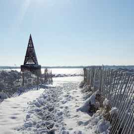 View of Beach from Path in Winter by Kristine Nicholas - Novices Only Landscapes ( dunes, icy, buoy, waterscape, dune, ocean, fences, beach, landscape, fencing, cold, ice, snow, water, sand, sea, snowy, seascape, fence, winter, triangle, sand dunes, marker, reservation, waterway )