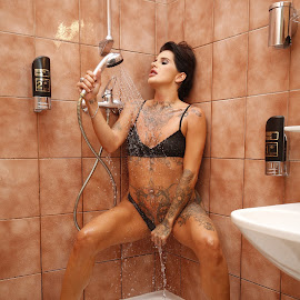 Cold Shower by Michael Strobl - Nudes & Boudoir Boudoir ( boudoir, shower, lingerie, wet, hot )