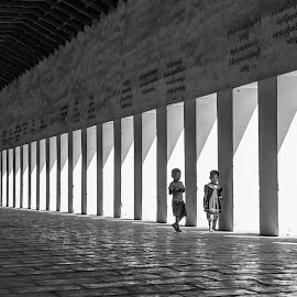 Making the Long Hall by Mike O'Connor - Babies & Children Children Candids ( hall, pattern, caution, children, perspective, architecture )
