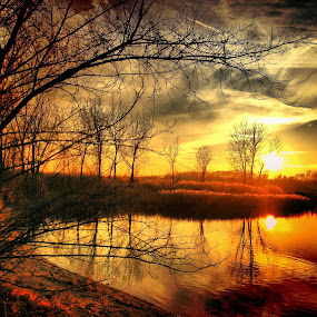 by Lori Taylor - Instagram & Mobile iPhone ( clouds, water, reflection, nature, sunset, beautiful, trees )