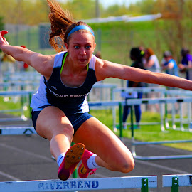 Hurdle by Harry  Phillips - Sports & Fitness Running ( hurdles, #likeagirl, track & field, running, #grizzlytwilightclassic )