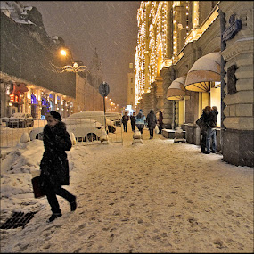 Nikolskaya street by Dmitry Ryzhkov - City,  Street & Park  Street Scenes ( snow, street, sity, people )