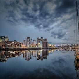 Still River by Adam Lang - City,  Street & Park  Vistas ( sky, tyne, reflections, gateshead, newcastle, bridges, boat )