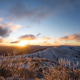 Sunset At Hotham by Stuart Billington - Landscapes Sunsets & Sunrises ( clouds, colour, mountains, winter, sky, sunset, snow, trees, view, sun )