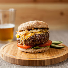 Coffee Rubbed Cheesburger with Smoked Cheddar