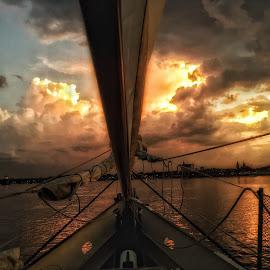 Sunset Glow by Susan McDavit - Transportation Boats ( water, ship, sunset, sailboat, boat, cruise,  )