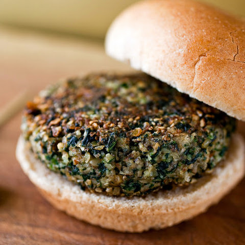 Mushroom Burgers With Almonds and Spinach
