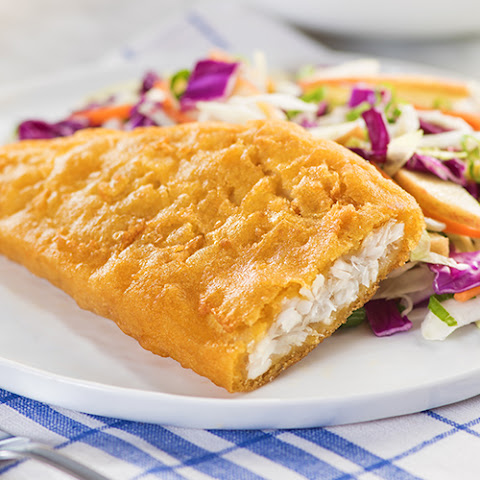 Pub-Style Beer Batter Cod with Red Cabbage & Apple Slaw