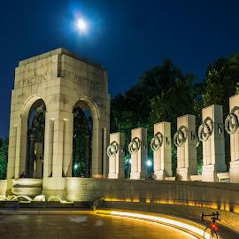 A Blue Moon Raises by Hugh Clarke - Buildings & Architecture Statues & Monuments ( wwii memorial, wwii, light trails, long exposure, washington dc, blue moon, fotodc )