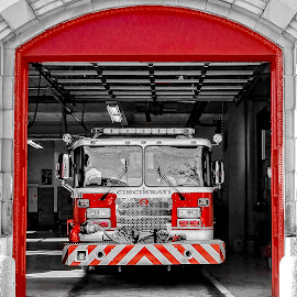 Red Firetruck by Richard Michael Lingo - Transportation Other ( red, truck, station, firetruck, transportation,  )