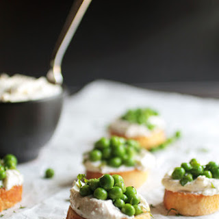 Pea and Mint Crostini with Garlic Whipped Feta