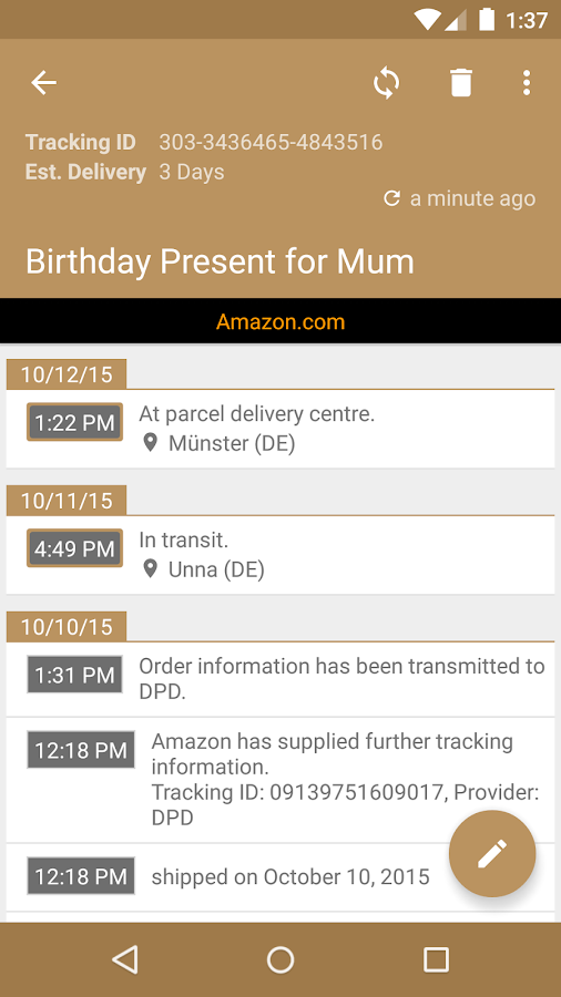 Deliveries Package Tracker Screenshot 2