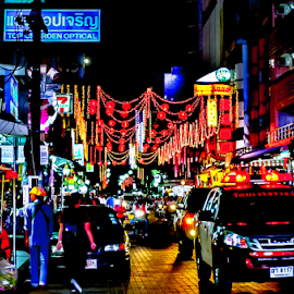 Golden Triangle. by Jamaluddin Abdul Jalil - City,  Street & Park  Street Scenes ( mood-lites, lights.lighting, moods, colorful, bright, chooseyourmood, street, thailand, cabarets, hub, glow, vechiles, bill boards, light, colors, pubs, hat yai, bars, display, bulbs, lanterns, entertainment, neons, clubs, lighting, color, bistros, night, golden triangle, vendors, rainbow, mood factory, signages )