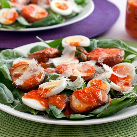 Potato, Egg and Spinach Salad with Roasted Red Pepper Dressing