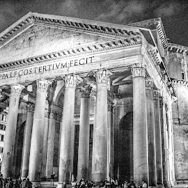 HDR Pantheon by Ed Stephens - Buildings & Architecture Architectural Detail ( b&w, hdr, rome, italy, pantheon )