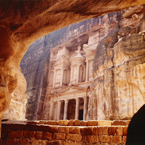 Petra Treasury Building by Jerry Ehlers - Novices Only Landscapes ( jordan, cave, treasury building, petra, middle east )