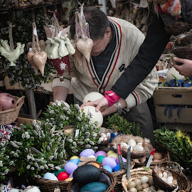 Easter Preparation by Johannes Oehl - City,  Street & Park  Markets & Shops ( modern, munich, easter egg, easter, market, green, colors, vikualienmarkt, germany, egg, outside )